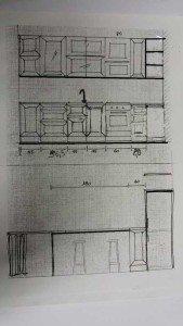 Cucina con angolo-pilastro tronco, stretta e lunga