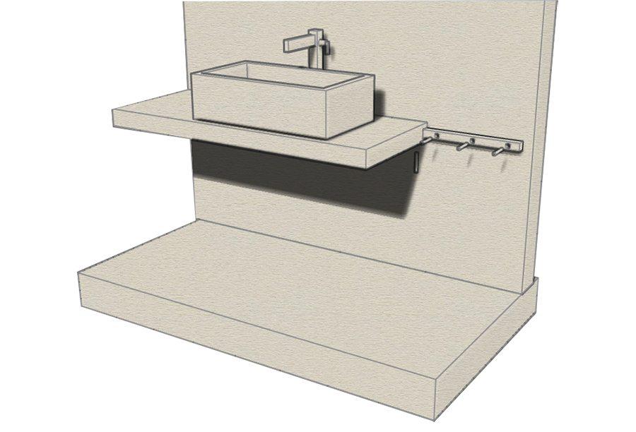 Top cucina ceramica: Piano appoggio lavabo legno