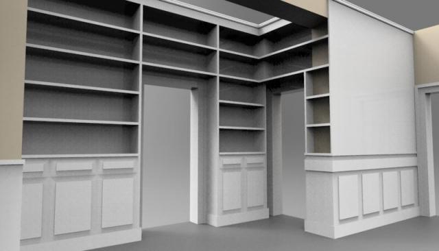 progetto libreria attorno porte