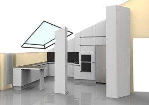 cucina sottotetto con finestra velux