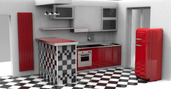 cucina con penisola rivestita in piastrelle