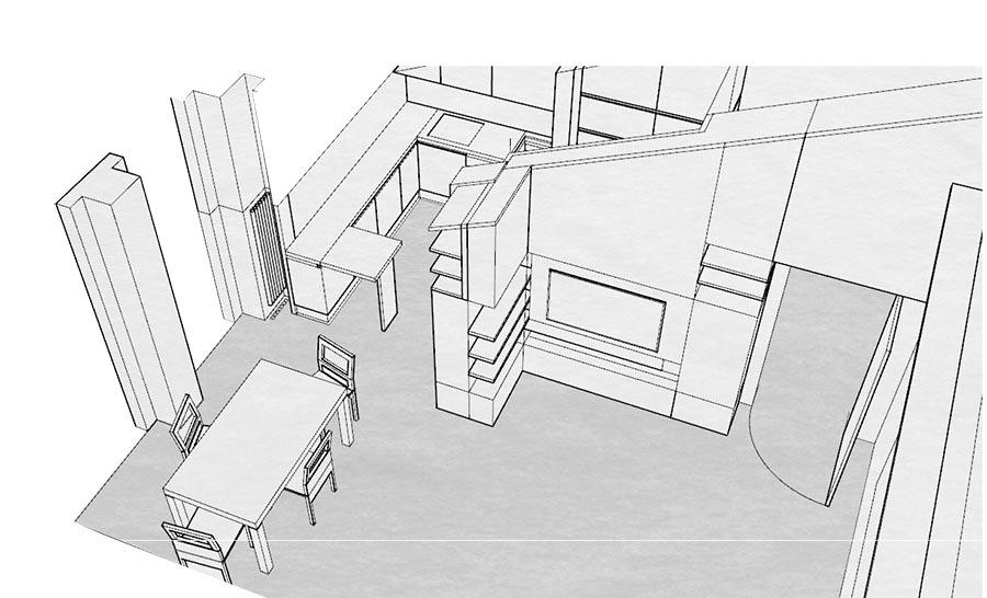 Cucina soggiorno mansarda - Cucine su misura di Creo Casa Milano ...