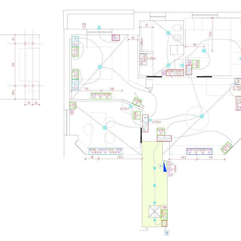 Schema esecutivo impianti elettrici appartamento